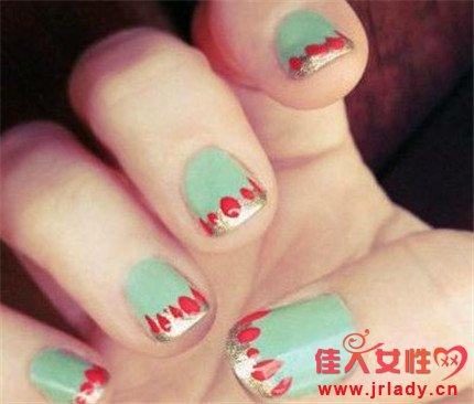 法式短指甲美甲图片2014款式