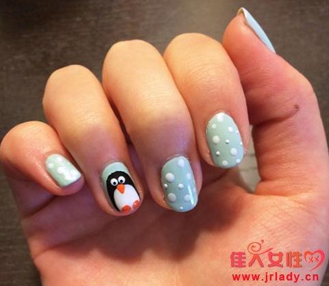 萌宠企鹅图案美甲diy教程