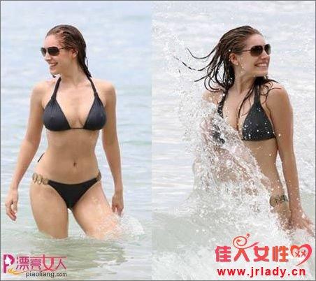性感女星 热辣比基尼海滩秀性感