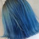 蓝色染发发型图片 靛蓝湖蓝渐变薰衣草