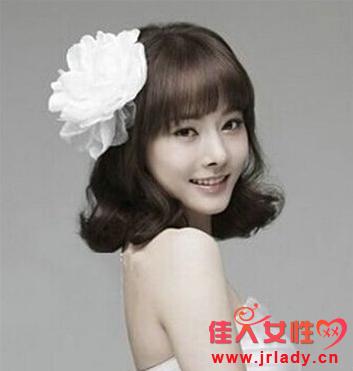 韩式新娘短发发型 蓬松斜刘海瘦脸图片