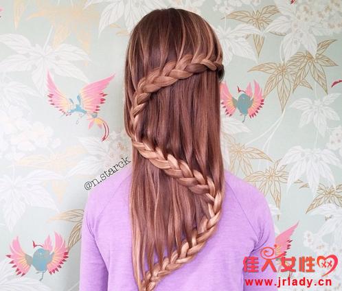 六一儿童节女生发型 八字节瀑布辫