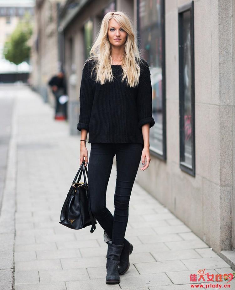 黑色搭配什么颜色好看 波点衬衫白色毛衣不可少