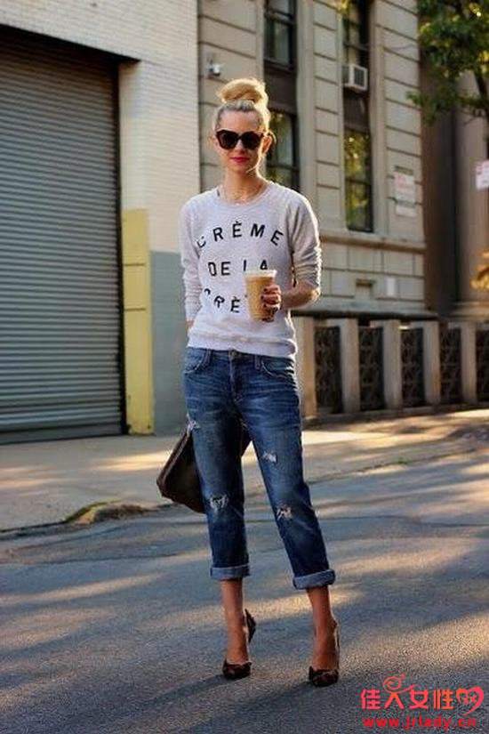 街拍牛仔裤搭配高跟鞋 瘦成筷子腿