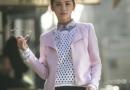 阿sa穿衣风格图片 紫色套装很高贵