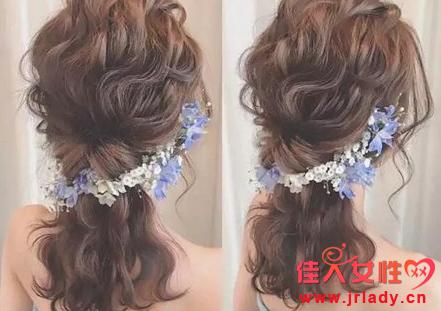 新娘鲜花编发造型图片 紫色蓝色花朵很适合