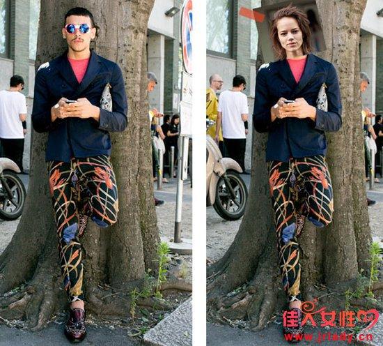 恶搞街拍 女模穿男装照样很时髦?