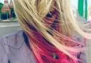 火烧云头发图片 卡其色混合玫红色染发