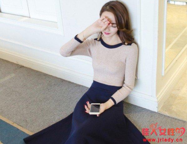 显瘦款的针织连衣裙 秋天穿的长袖针织连衣裙