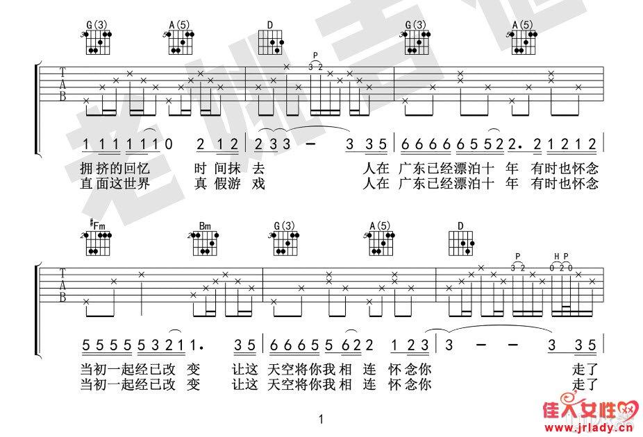 计算器歌曲谱子抽八卦-原曲是D调,不过感觉录音时候弦没太调准一样,感觉音稍有点斜.我