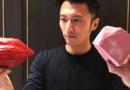 谢霆锋和粉色巧克力合照表情美滋滋 照片是王菲拍的?