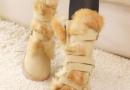甜美兔毛皮带扣牛皮高筒靴