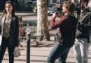 Angelababy身穿白色镂空连衣裙拍摄时装影片
